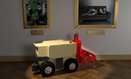 """Der Landwirtschafts-Roboter """"Oz"""" steht vor dem Bild eines Traktors und eines Roboters"""