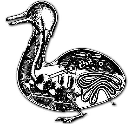 Die mechanische Ente des Erfinders Jacques de Vaucanson.