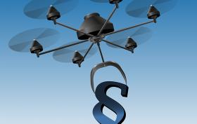 Drohne mit Paragraphzeichen