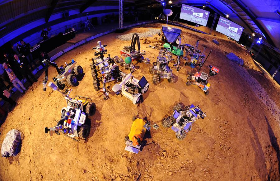 Roboter aus der Vogelperspektive