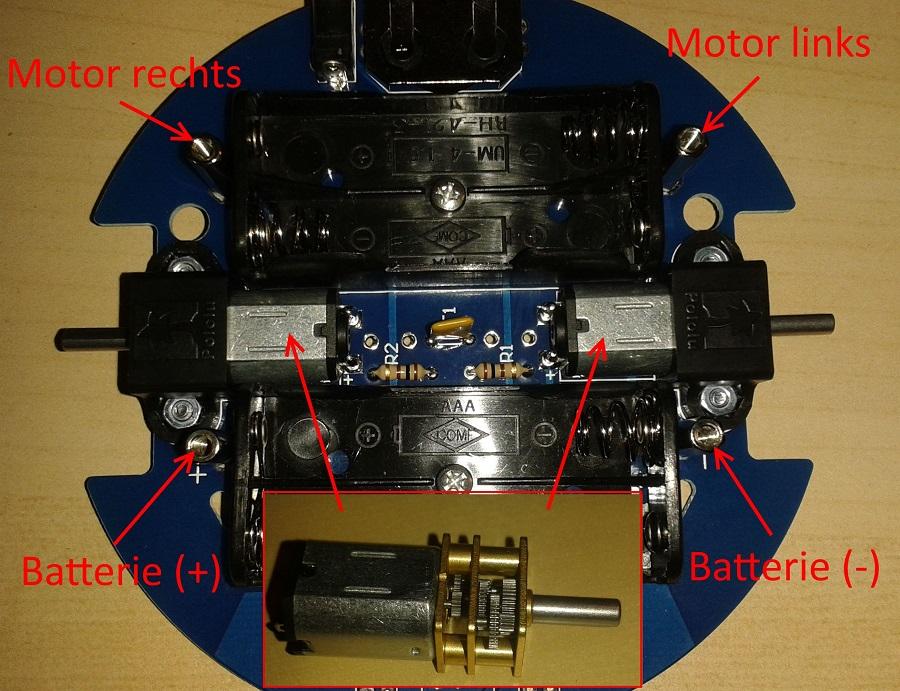 Bausatz tibo: untere Platine mit Getriebemotor