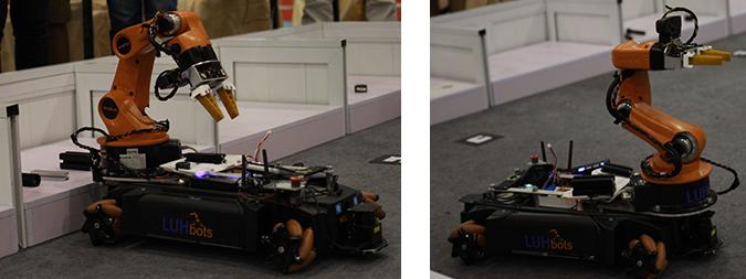 Abbildung 3: YouBot während des Ablegevorgans auf die Transportplatte (links), YouBot während der Navigation zu der Ablageplattform (rechts)